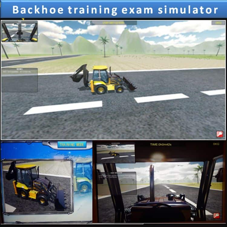 Backhoe training test simulator-wheel loader excavator for mining, paving and trenching