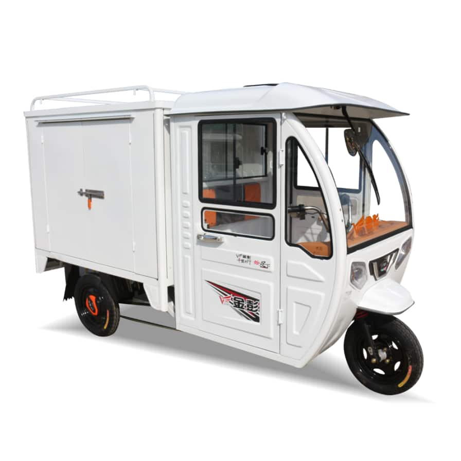 Electric delivery tricycle with closed cargo box , cargo tricycle with cabin
