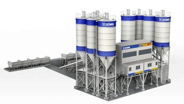 XCMG Official High Efficiency Concrete Batching Mixing Plant 180m3h HZS180V Batching Plant for Sale