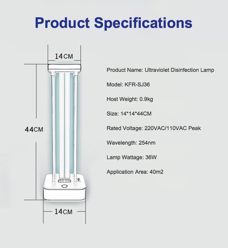 Kanfur Ultraviolet Disinfection Lamp 36W for sale