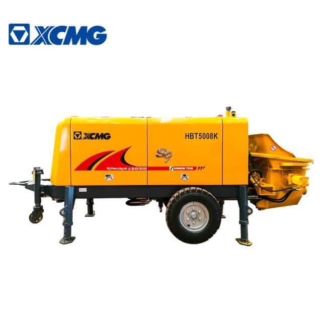 XCMG Official 82kw small trailer mounted concrete pump truck HBT5008K concrete mixer with pump price