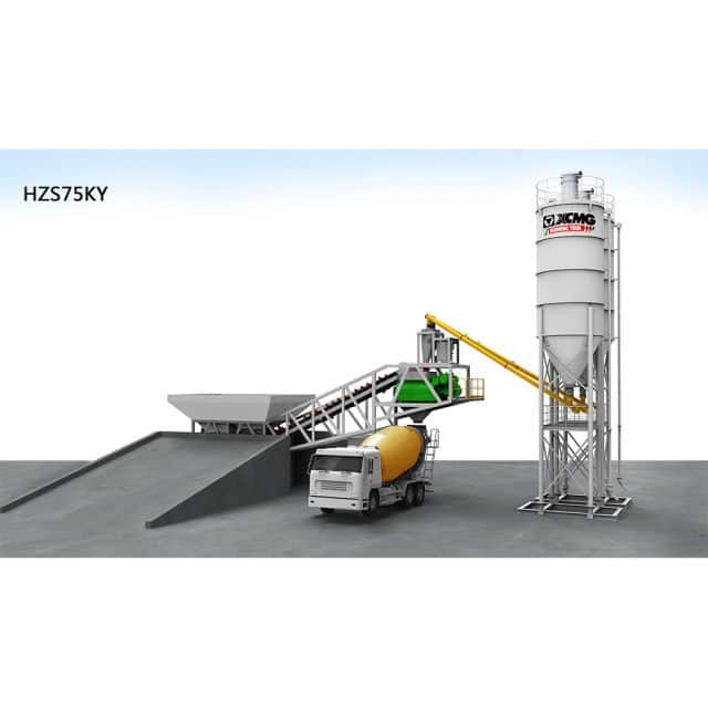 XCMG official HZS75KY Mobile concrete batching plant batching plant for sale