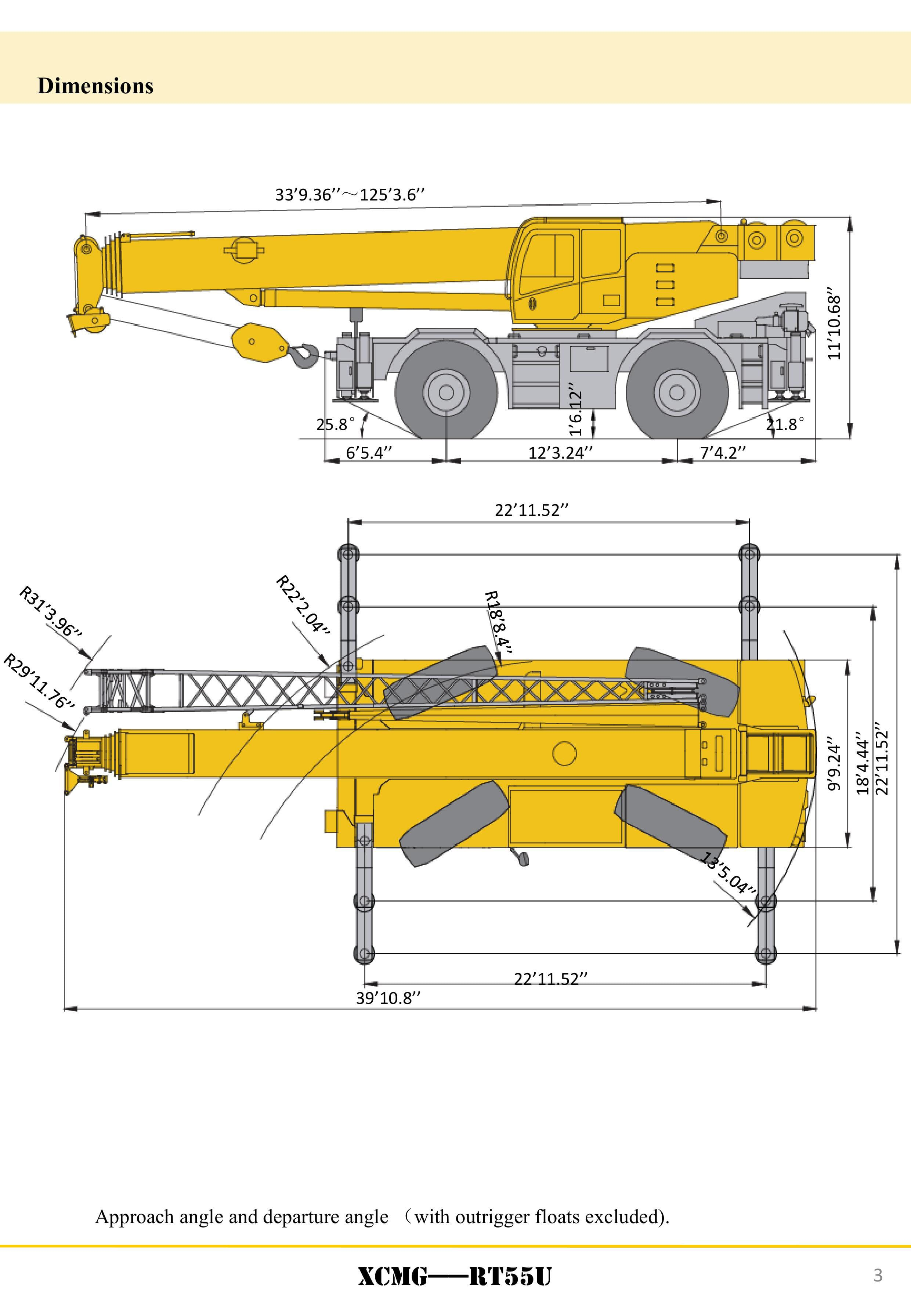XCMG Official RT55U Rough Terrain Crane for sale