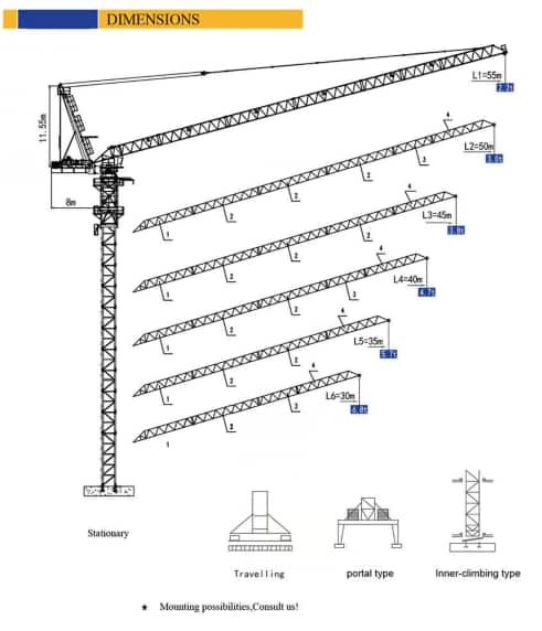 XCMG Official XGTL180 Tower Crane for sale