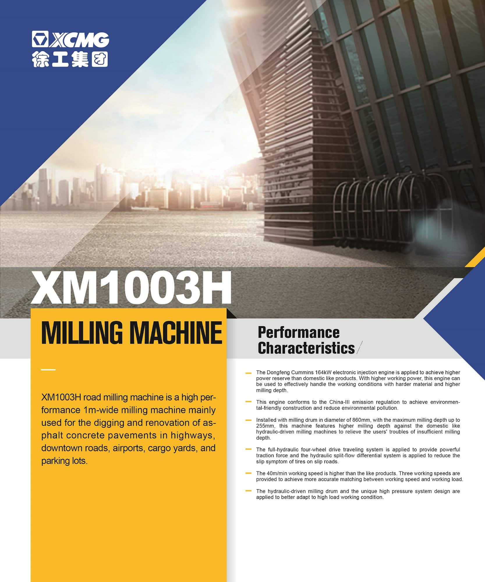 XCMG official XM1003H milling Machine for sale