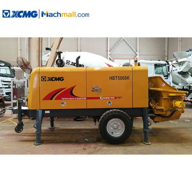China XCMG trailer mounted concrete pump HBT5008K 82kw construction machine for sale