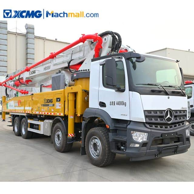 Truck concrete pump with Benz chassis XCMG HB58V sale in Mexico