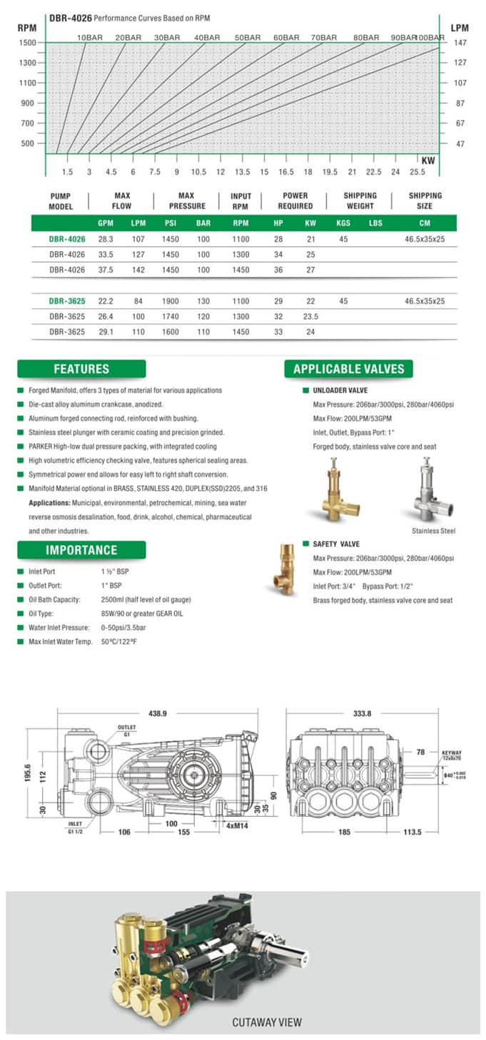 DBR Series Reciprocating High Pressure Plunger Pump